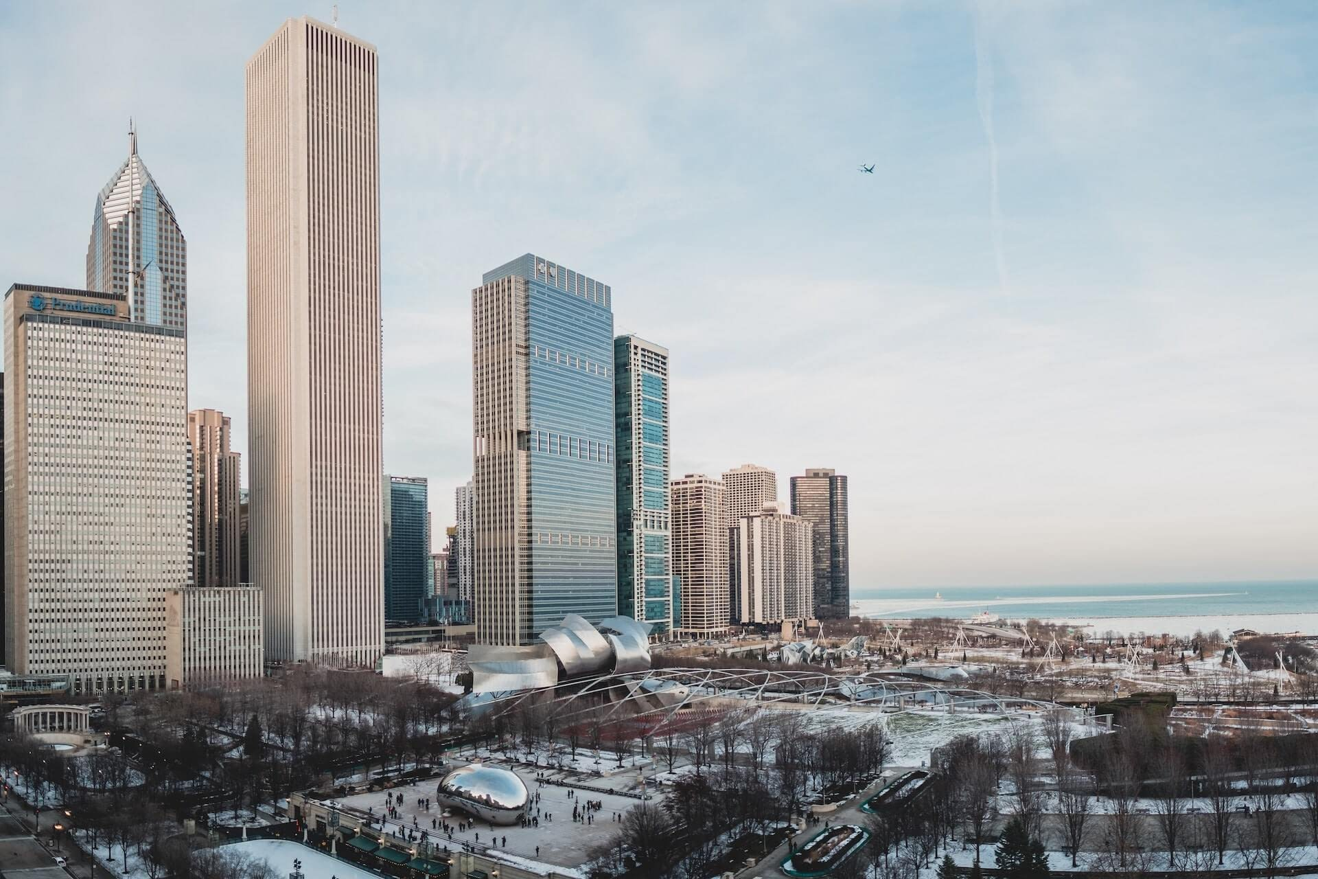 downtown chicago in the winter
