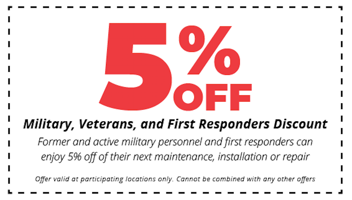 5% off hvac maintenance, installation or repair for military, veterans and first responders